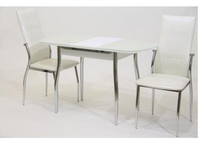 Стол раздвижной с белой кожей под стеклом Гала 12