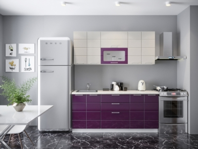 Кухонный гарнитур Соло 1800 Ваниль Баклажан